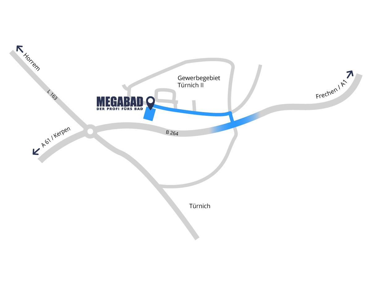 Anfahrt zu MEGABAD in Kerpen